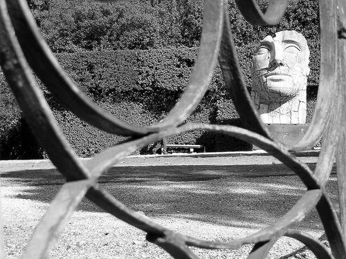 Stone head in boboli gardens